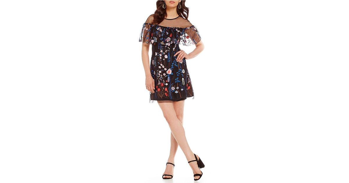 Lyst Gianni Bini Tonny Floral Embroidered Sheath Dress In Black