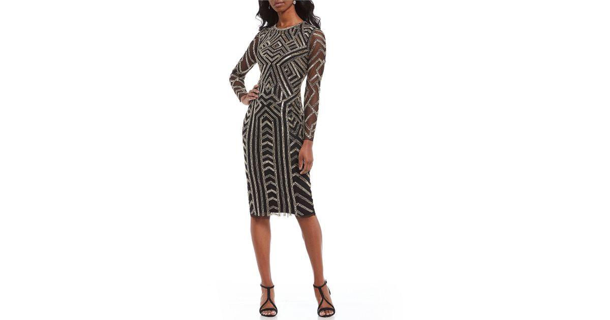 7d87cda2ef9 Gianni Bini Miranda Geometric Beaded Sequin Midi Dress in Black - Lyst