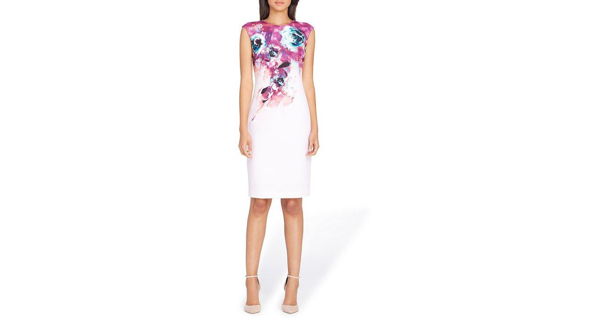 d1c438e5298 Lyst - Tahari Petite Floral Print Sheath Dress in White