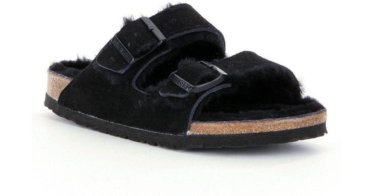 Birkenstock Women's Arizona Suede Double Buckle Fur Lined Shearling Sandals mBTKUmnHZ