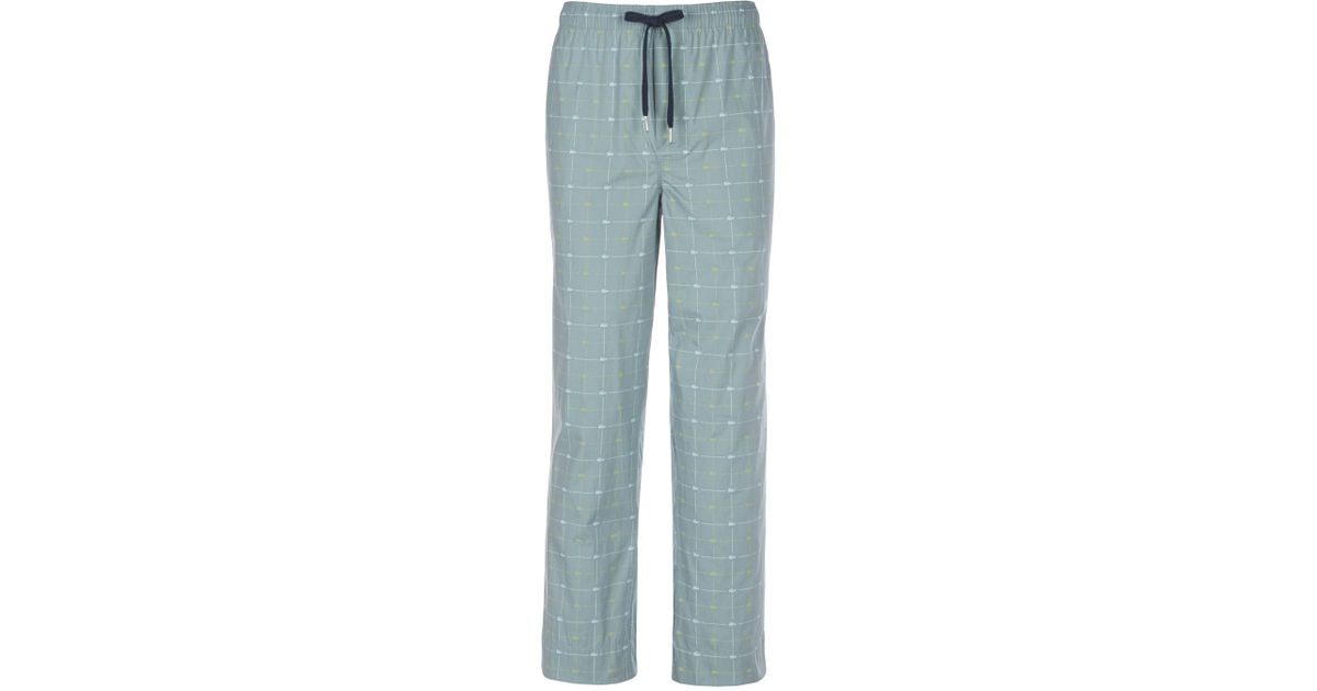 690e07b78f9 Lyst - Lacoste Signature Print Woven Pajama Pants in Blue for Men