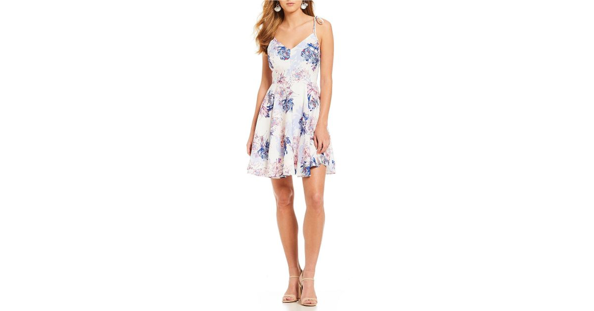 ebb64bba93a Lyst - Gianni Bini Josephine Floral Print Tie Strap Dress in Blue