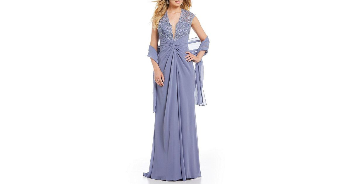 Lyst - Mon Cheri Cameron Blake Lace Bodice Gathered Gown in Blue