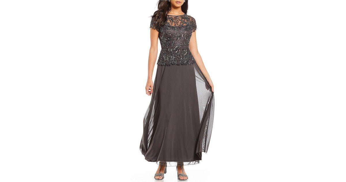 b06377363248 Pisarro Nights Chiffon Beaded Bodice Mock Two-piece Gown - Lyst