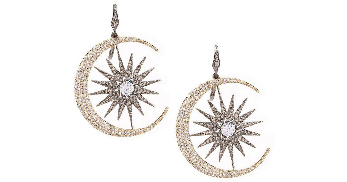 Star Earrings Mini Star Diamond Earrings In 14k White Gold