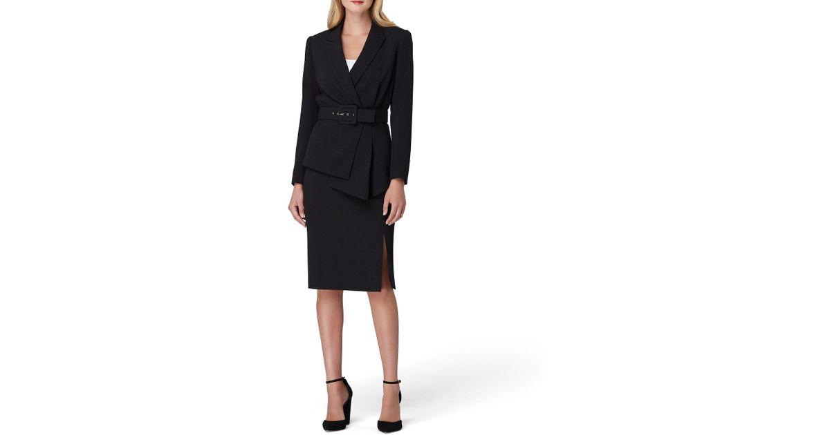 3bf64bb3890 Tahari Asymmetrical Belted Skirt Suit in Black - Lyst