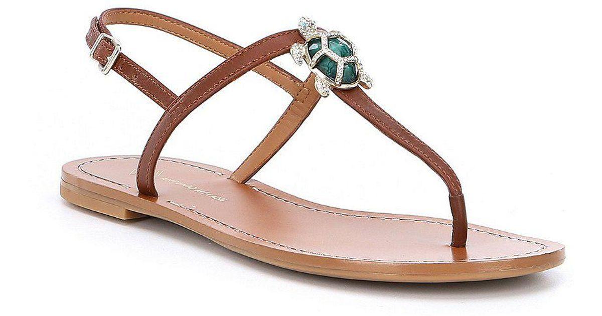 93921c43899e88 Lyst - Antonio Melani Tulias Jewel Turtle Ornament Thong Sandals in Brown