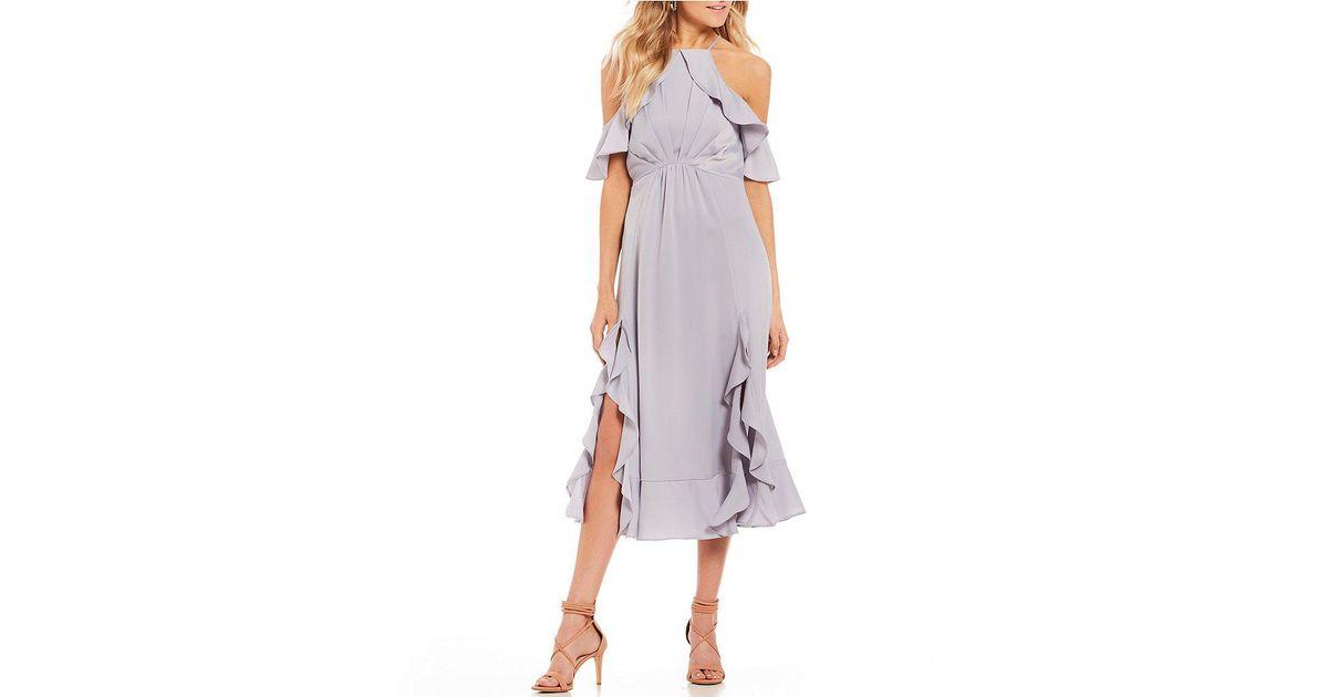 d63a05054a Gianni Bini Carina Satin Ruffle Hem Dress in Metallic - Lyst