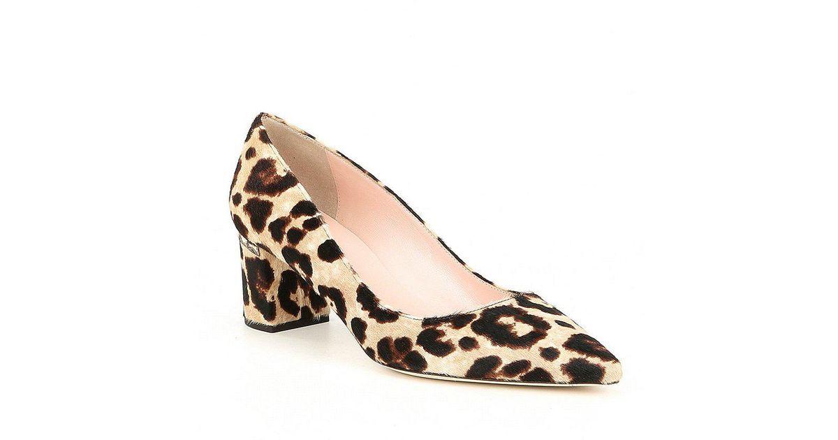 18a0f5930cee Lyst - Kate Spade Milan Too Leopard Print Calf Hair Block Heel Pumps in  Brown