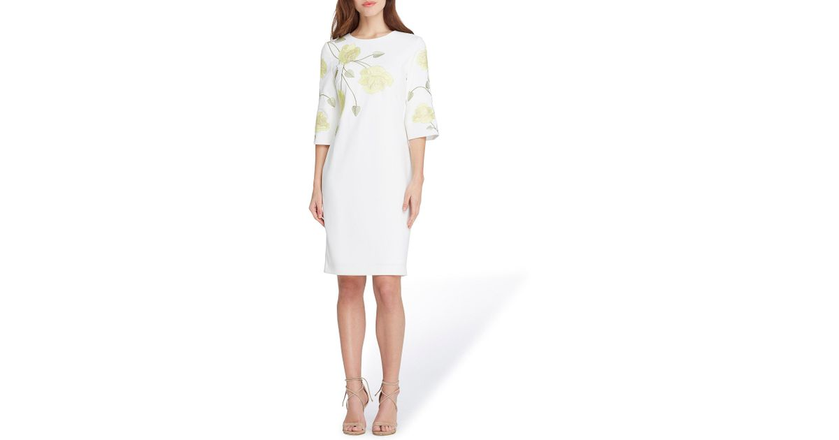 f787f11b759a Tahari Long Sleeve Floral Embroidered Crepe Sheath Dress  (white/citron/green) Dress in White - Save 46% - Lyst
