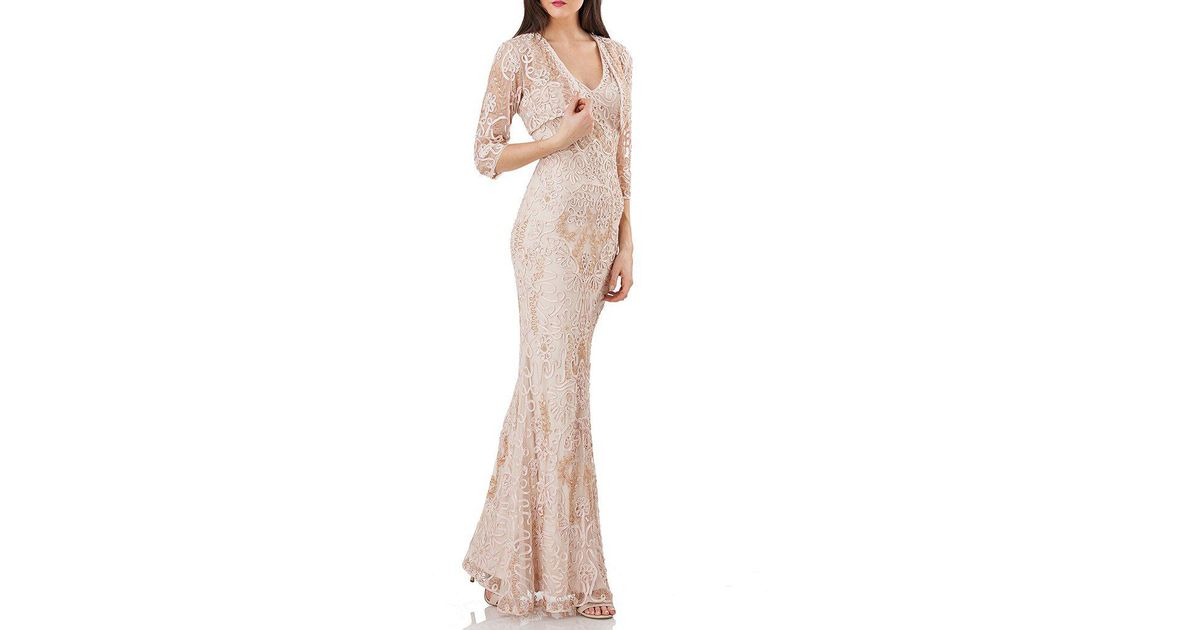 750a62fb60 Lyst - JS Collections Soutache Jacket Gown in Natural