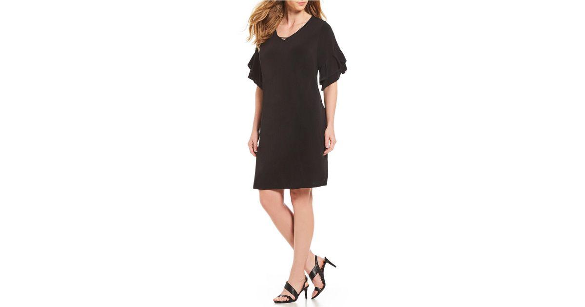 256fd97f440 Lyst - Calvin Klein Plus Size Ruffle Sleeve Dress in Black