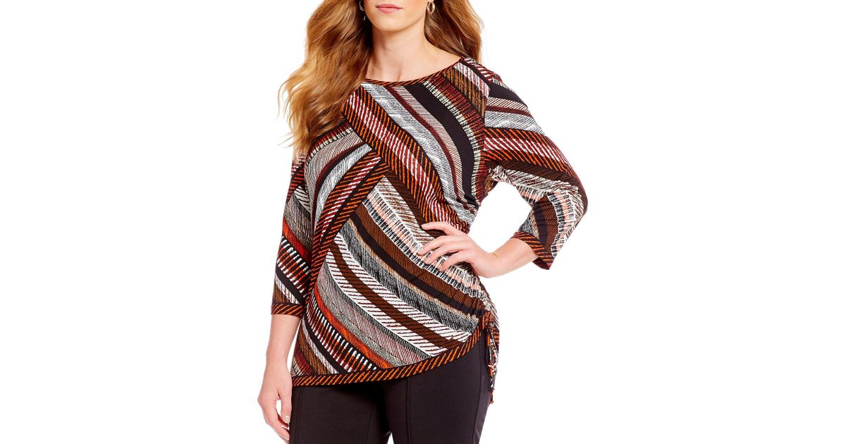 cbb8e31bd0d Lyst - Ruby Rd. Plus Size 3 4 Sleeve Stitched Diagonal Placement Print Side  Ruched Knit Top