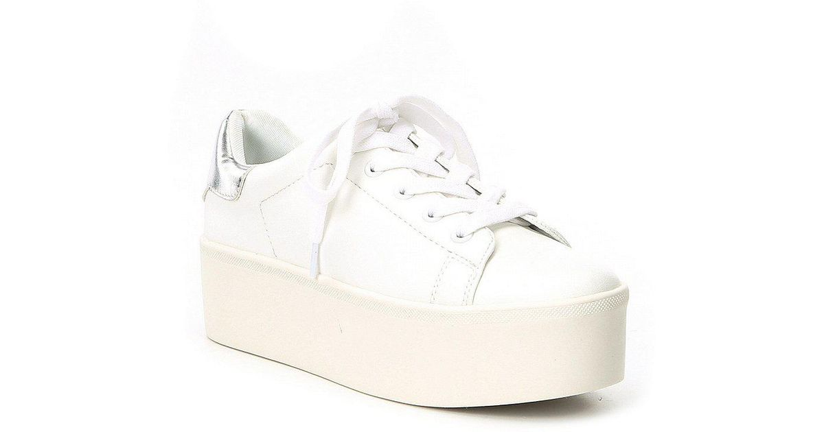 c8838afee4e Lyst - Steve Madden Palmer Platform Lace Up Sneakers in White