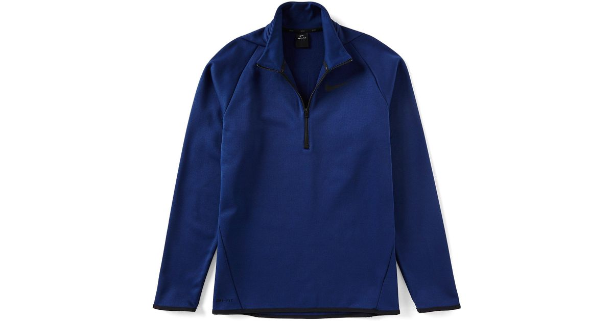 b658b7d6 Lyst - Nike Big & Tall Long-sleeve Quarter-zip Therma Fleece Training Top  in Blue for Men