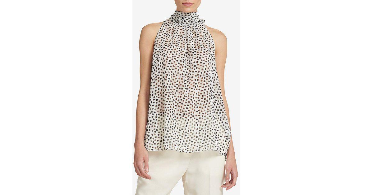 5ef53beb987a9 Lyst - Donna Karan New York Burnout Polka Dot Halter Tie-back Top in Black
