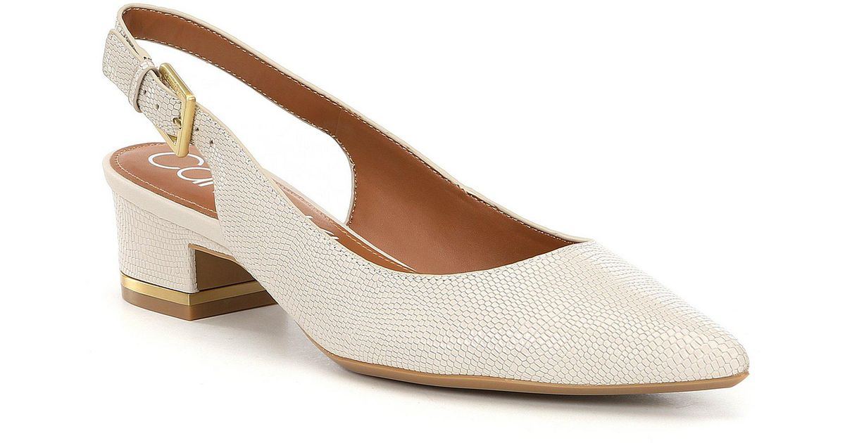 c89138153d0 Lyst - Calvin Klein Soft White Glorianne Lizard Slingback Pumps in White