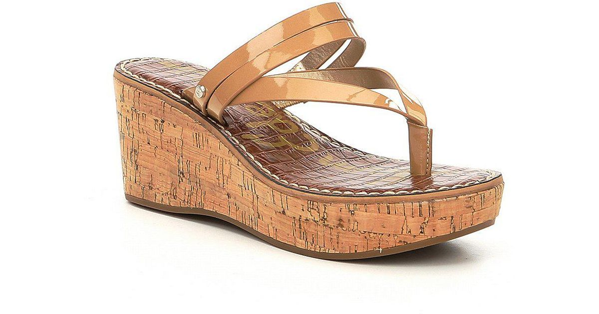 Rasha Patent Leather Thong Wedge Sandals aLzKU