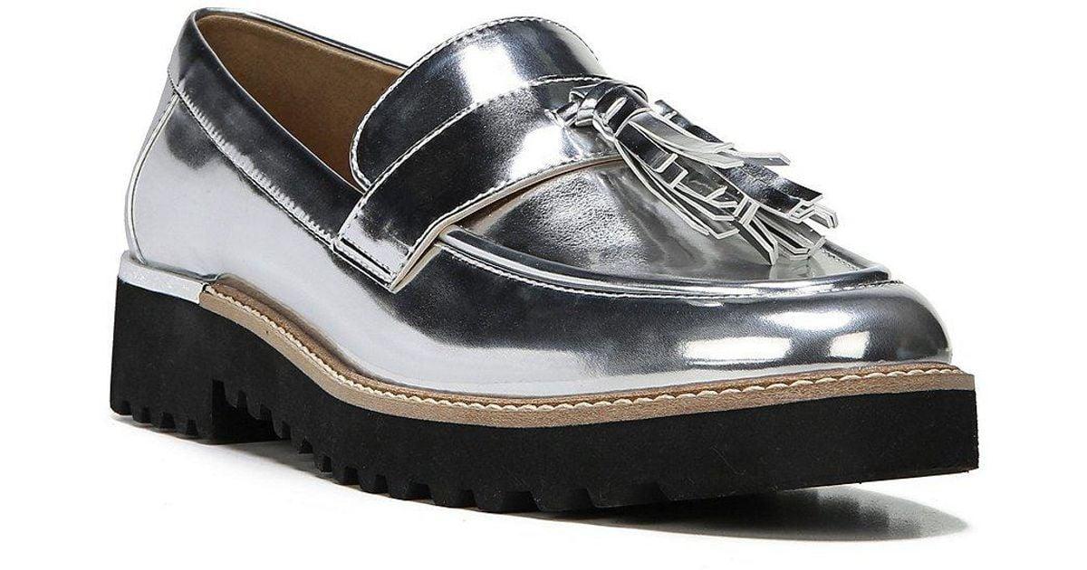 Franco Sarto Carolynn Metallic Tassel Block Heel Loafers xtXdUm