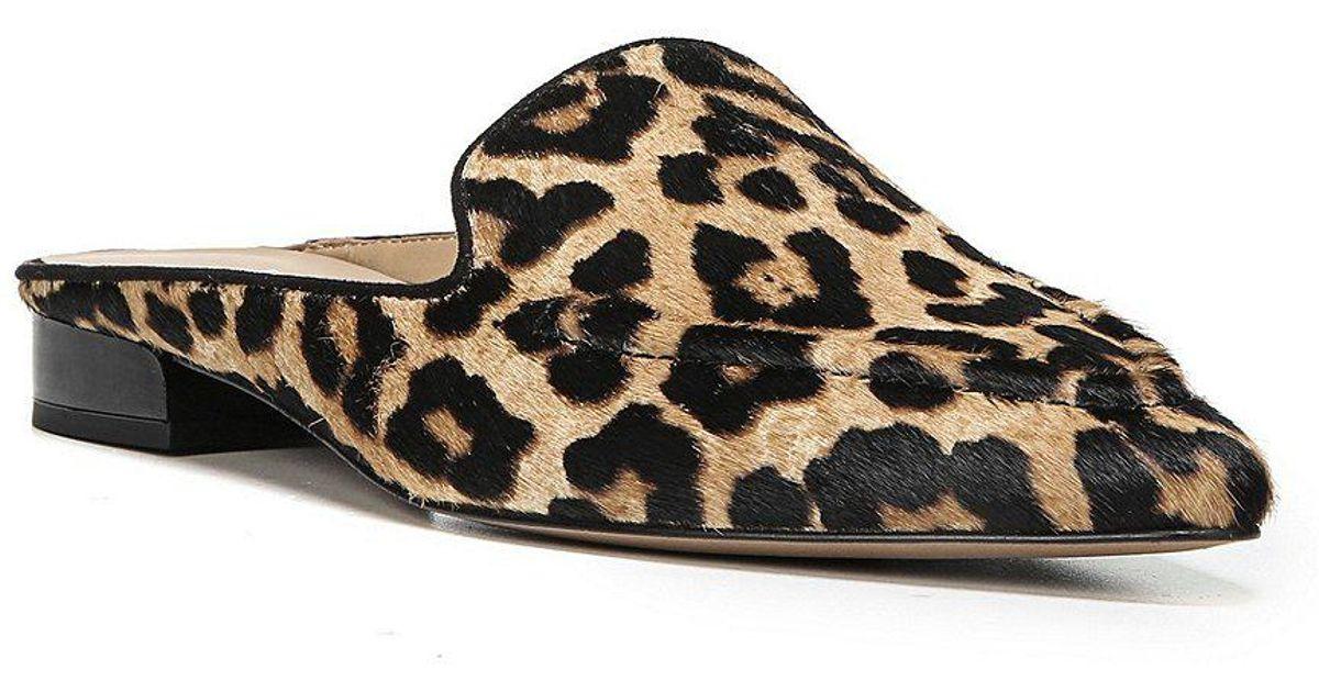 81514eee05a2 Franco Sarto Sela 2 Leopard Print Calf Hair Mules in Black - Lyst