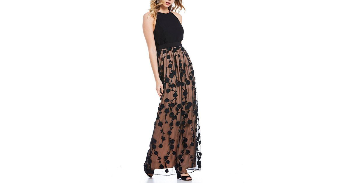 4d5be9ecb24 Lyst - Belle By Badgley Mischka Floral Embroidered Wesley Gown in Black