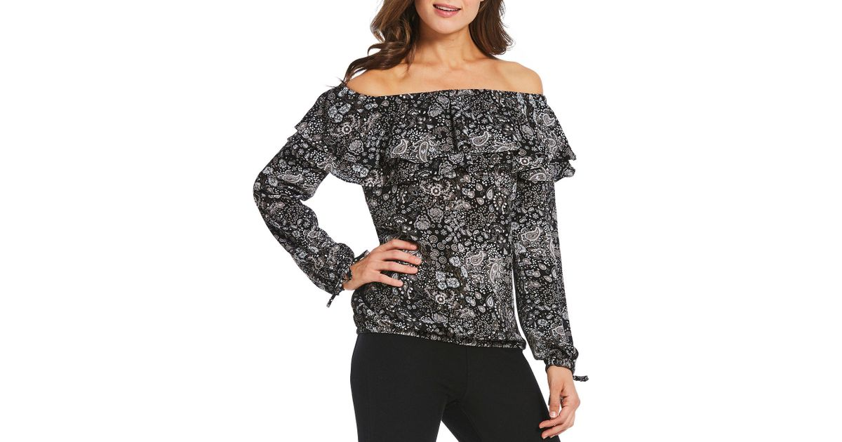 bb01c750747 MICHAEL Michael Kors Paisley Remix Print Tiered Ruffle Off-the-shoulder  Balloon Sleeve Peasant Top in Black - Lyst