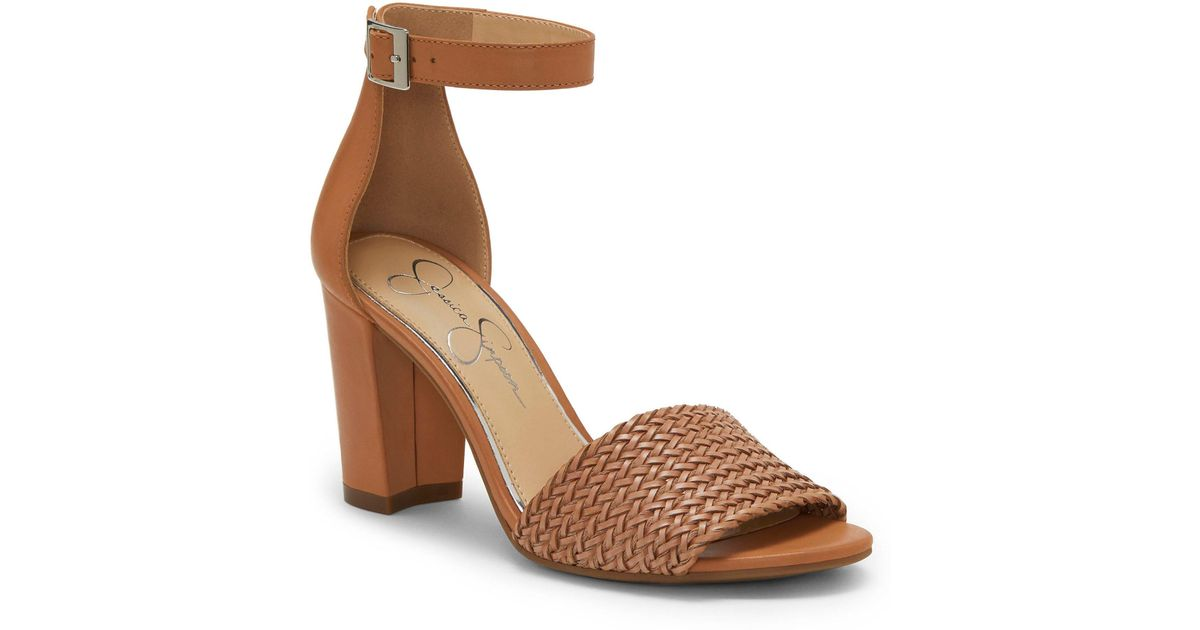 aac35d01ac7 Lyst - Jessica Simpson Sherron4 Woven Ankle Strap Block Heel Sandals in  Brown