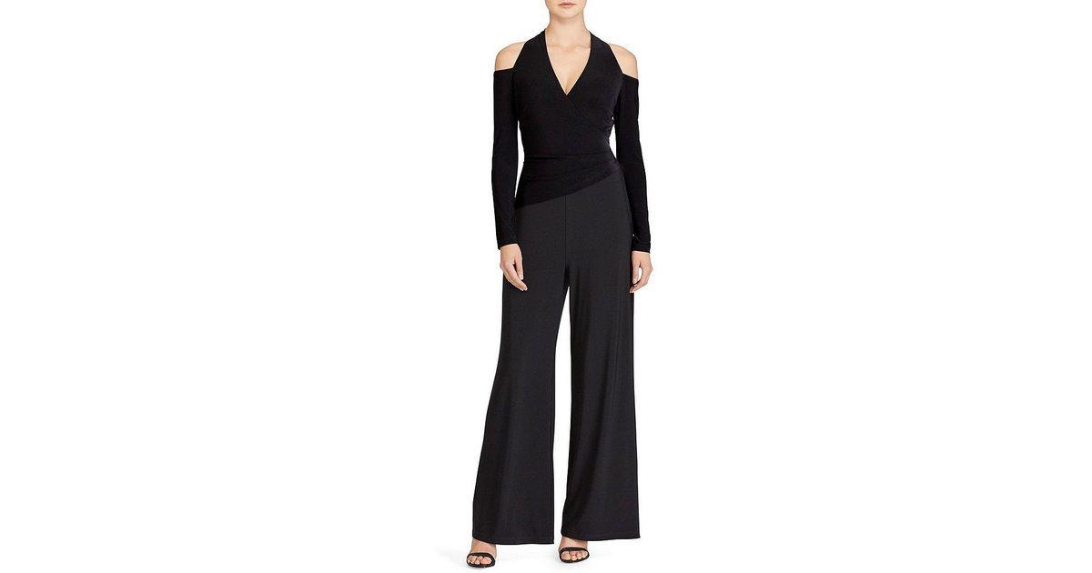 ca9ecb333dd Lyst - Lauren by Ralph Lauren Cutout-shoulder Surplice Jumpsuit in Black