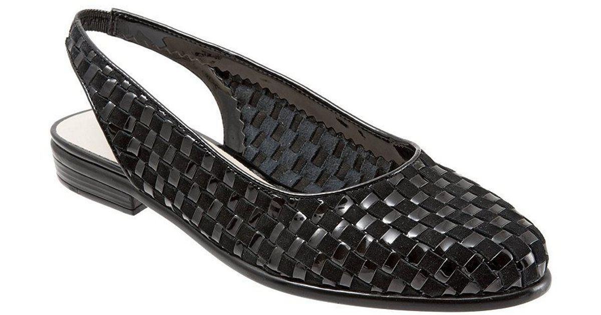 Lucy Woven Suede and Patent Leather Slingback Block Heel Flats XOp7P0