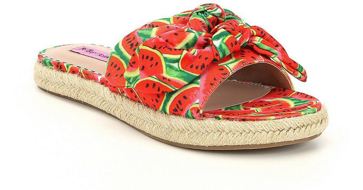 Jazzy Watermelon Print Knotted Espadrille Slide Sandals