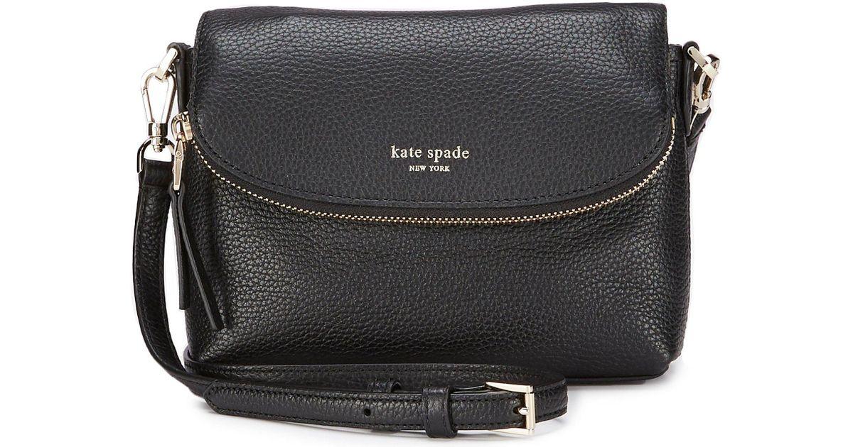 7def66de3564 Lyst - Kate Spade Polly Small Flap Crossbody in Black