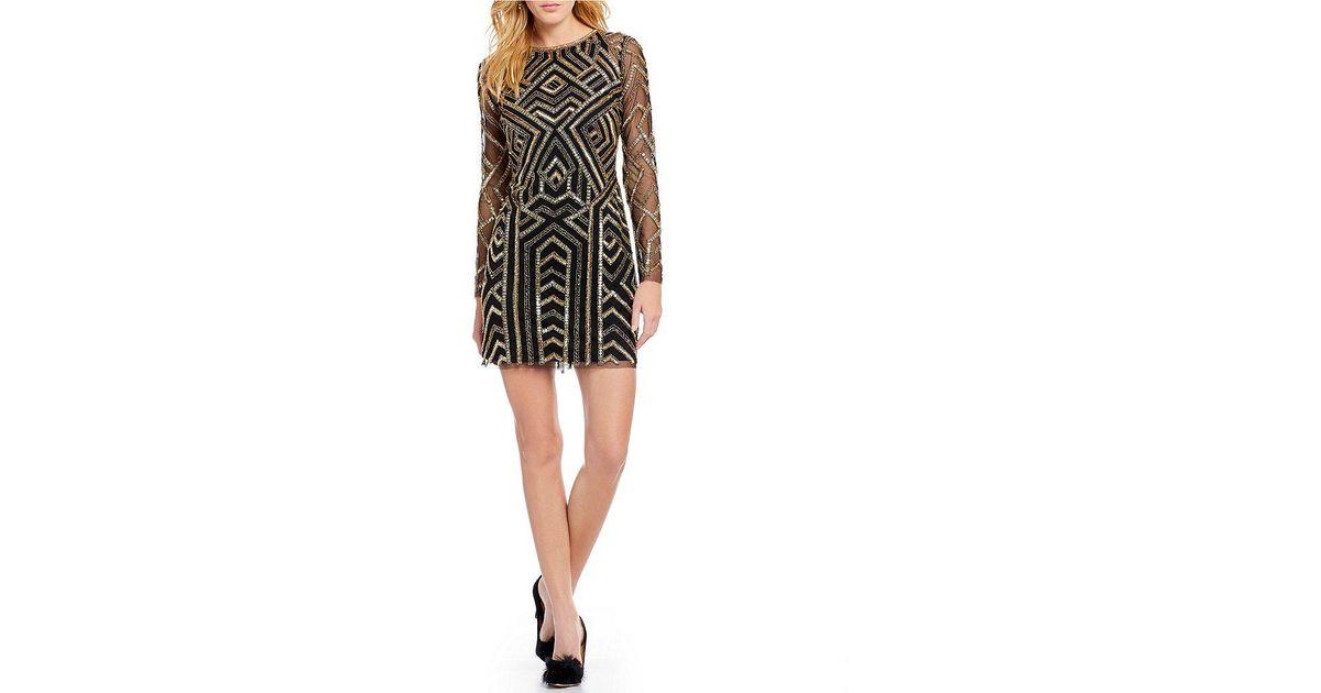 Lyst Gianni Bini Kim Geometric Sequin Dress In Black