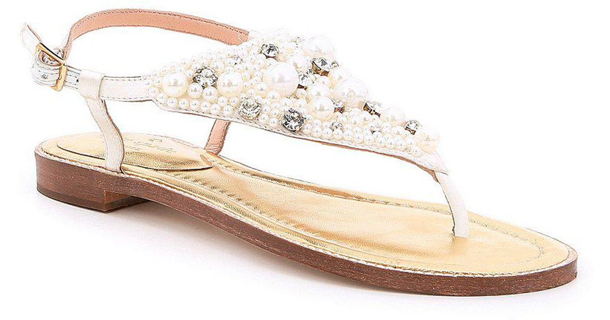 59d7161de87 Lyst - Kate Spade Sama Satin Pearl And Jewel Embellishment Ankle Strap  Thong Sandals