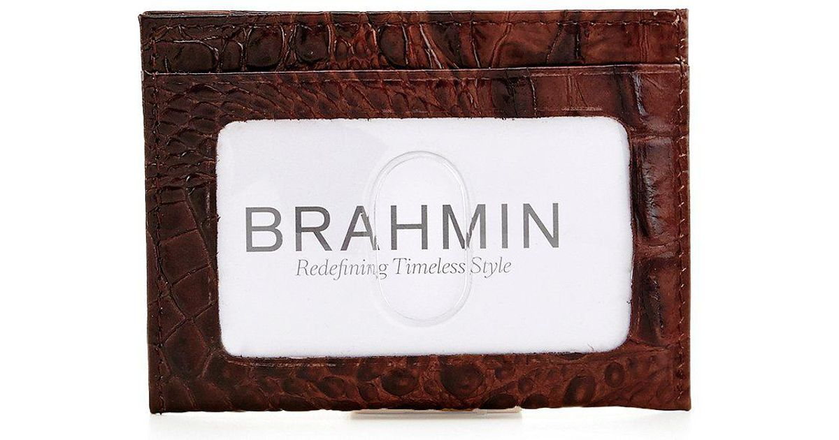hot sale online 8faad bd8a7 Brahmin - Brown Melbourne Collection Charlie Money Sleeve Card Case for Men  - Lyst
