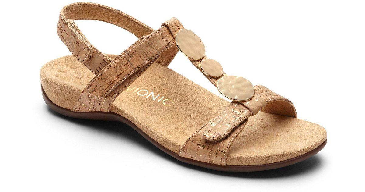 d407e8a03 Lyst - Vionic Farra T-strap Sandal in Metallic
