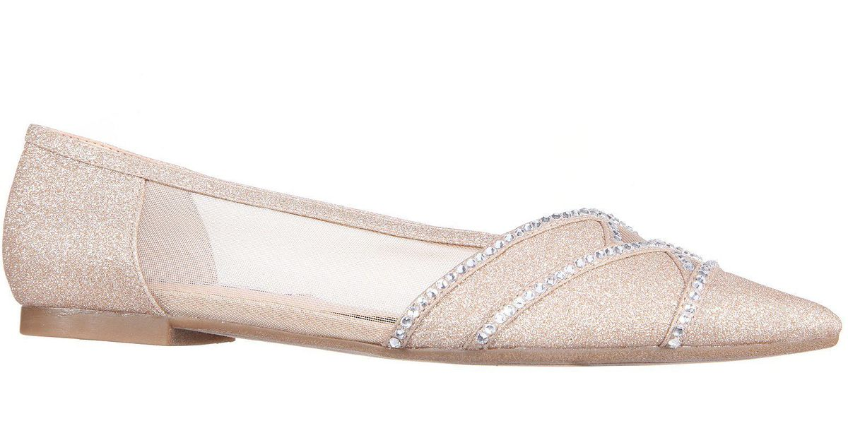 634db4ace7fd Lyst - Nina Kiyrah Glitter And Rhinestone Detail Block Heel Dress Flats