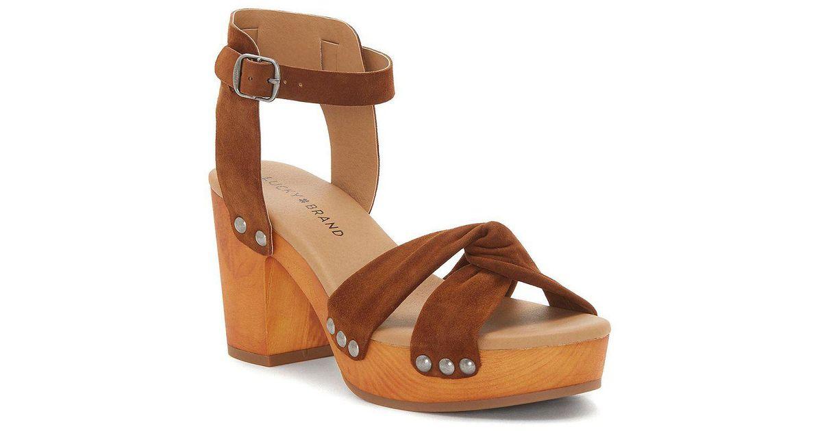Lucky Brand Whitneigh Nubuck Studded Block Heel Sandals WWENtB