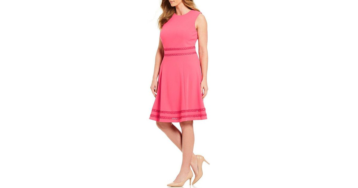 Lyst Calvin Klein 205w39nyc Plus Size Lace Trim A Line Dress In Pink