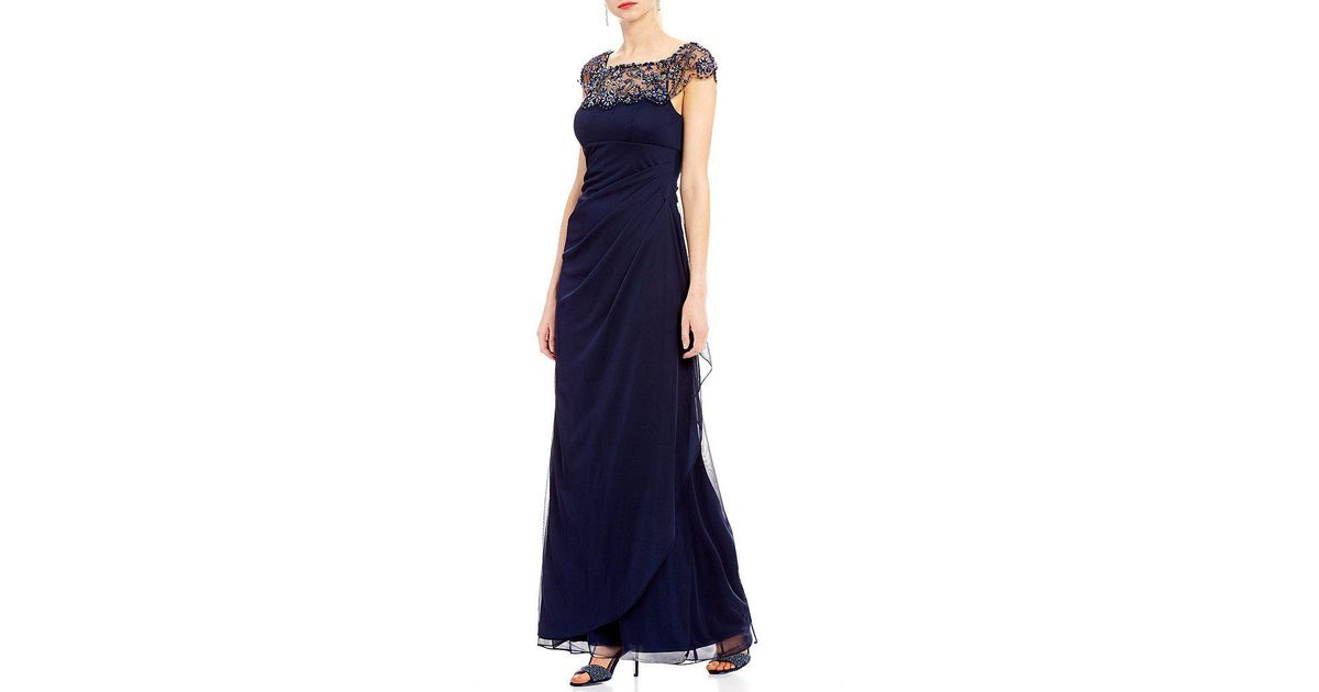Lyst - Xscape Beaded Illusion Neck Ruched Gown in Blue
