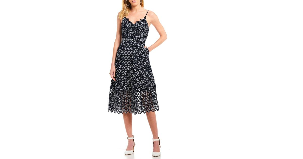 57d3e5ef750 Lyst - Gianni Bini Irma Spaghetti Strap V-neck Scalloped Hem Midi Dress in  Blue