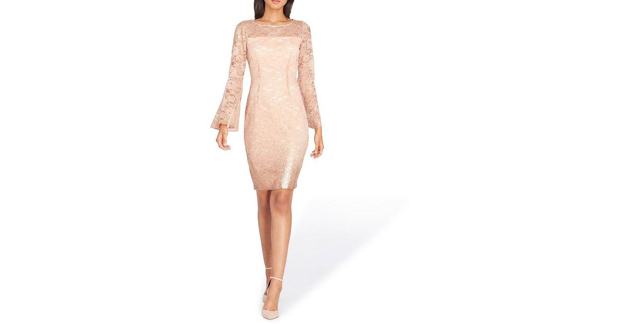 bc676d35 Lyst - Tahari Lace Bell Sleeve Sheath Dress in Pink