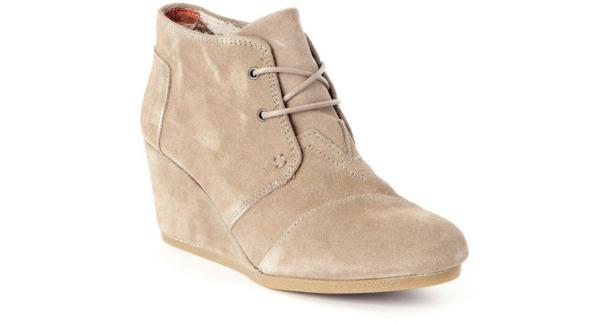 db30784c46a2 Lyst Toms Desert Suede Lace Up Wedge Booties In Brown
