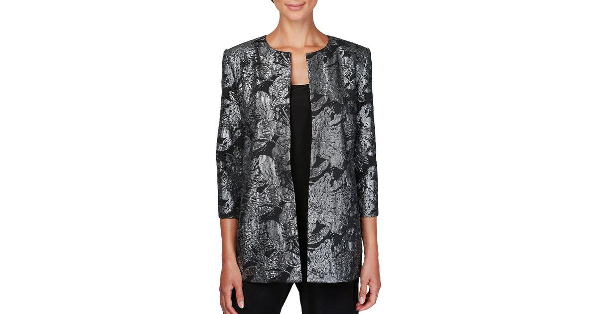 43e713f758a11c Lyst - Alex Evenings Metallic-print Jacket   Top in Black - Save 20%
