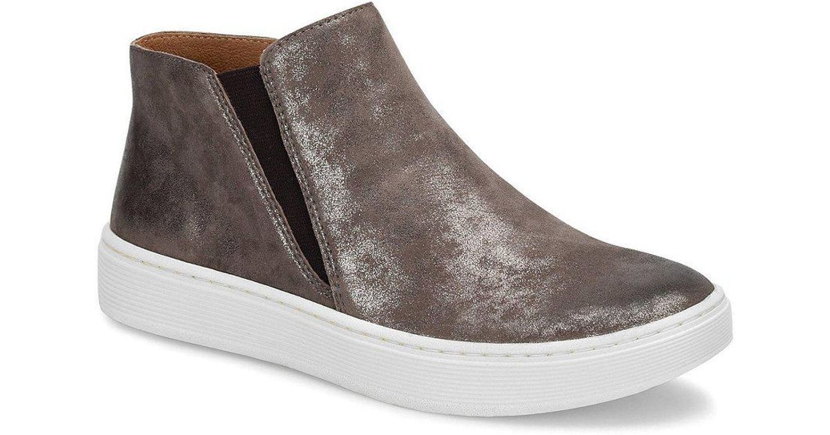 Sofft Britton Distressed Metallic Suede Slip-On Sneakers sHb45c