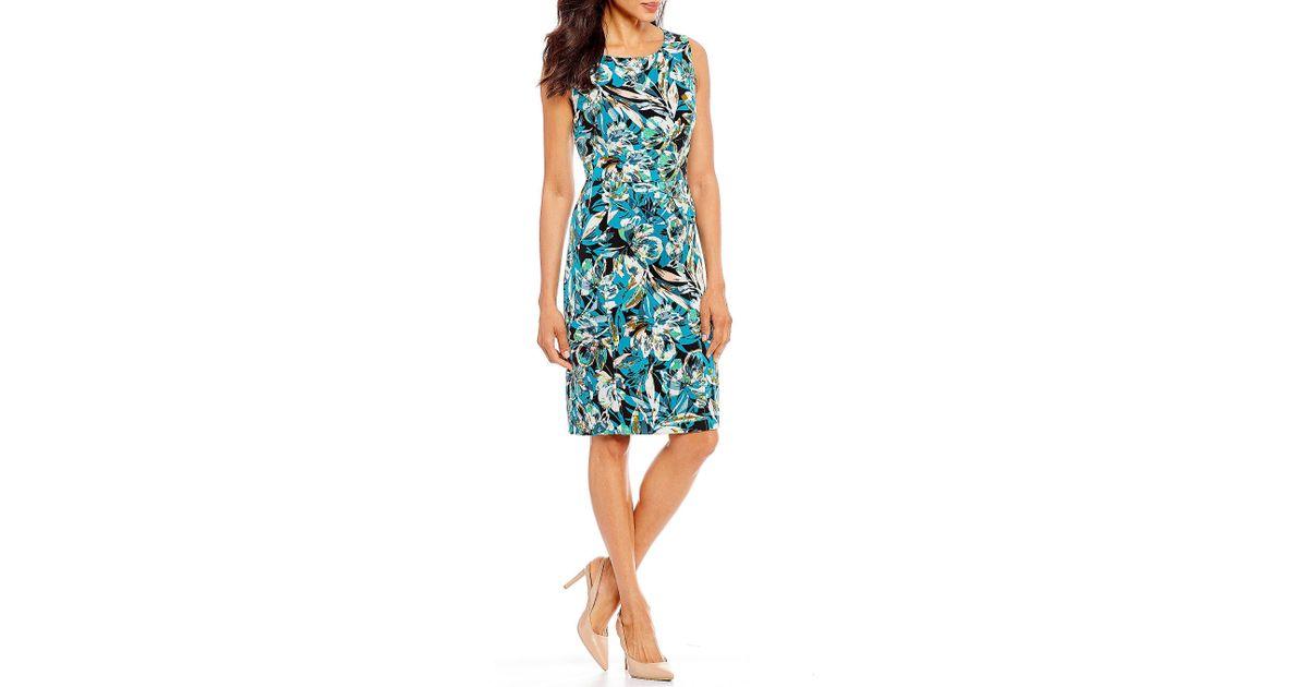 570aa1fafc Lyst - Kasper Petite Size Crepe Blossoming Sheath Dress in Blue