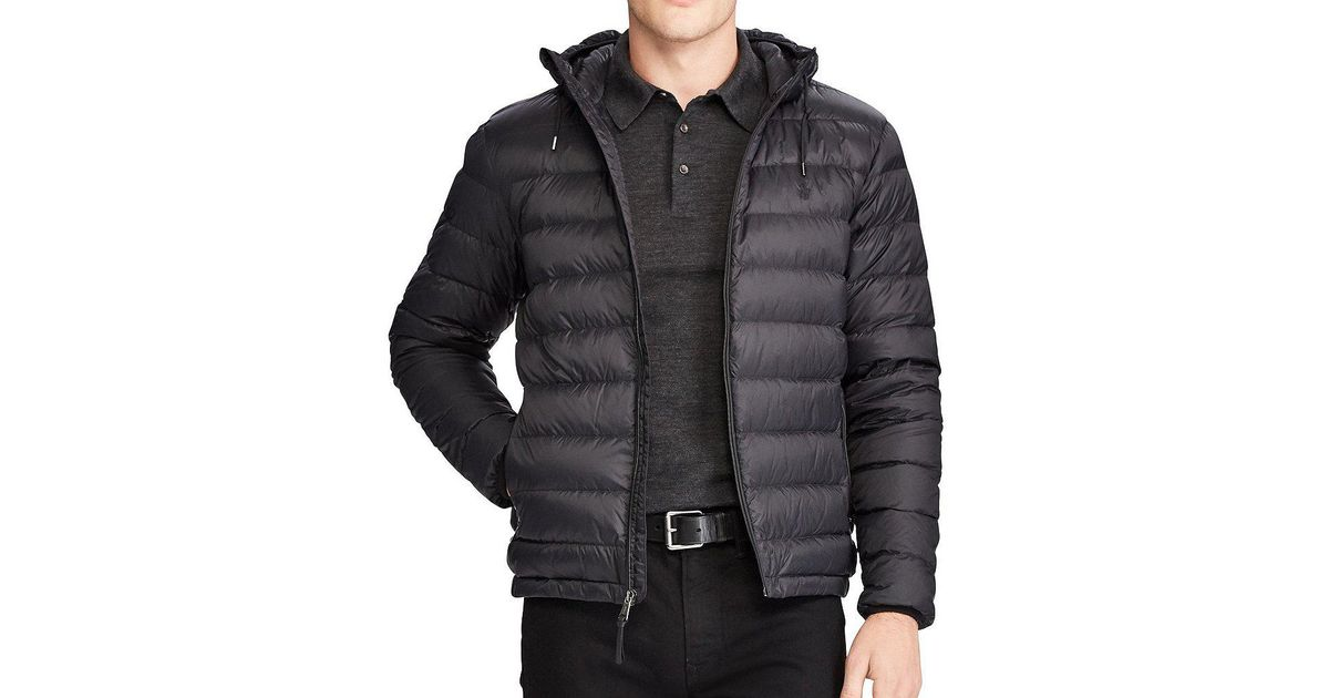 98a311bee Polo Ralph Lauren Big   Tall Packable Hooded Down Jacket in Gray for Men -  Lyst