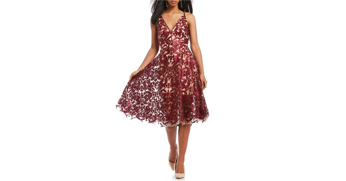 f58cf94c980 Lyst - Dress the Population Blair Deep V-neck Sequin Lace Midi Dress in  Natural