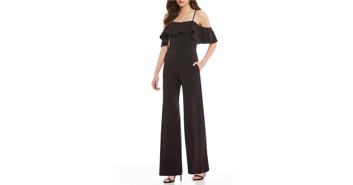 dee052de286e5 Lyst - Eliza J Off-the-shoulder Ruffle Jumpsuit in Black