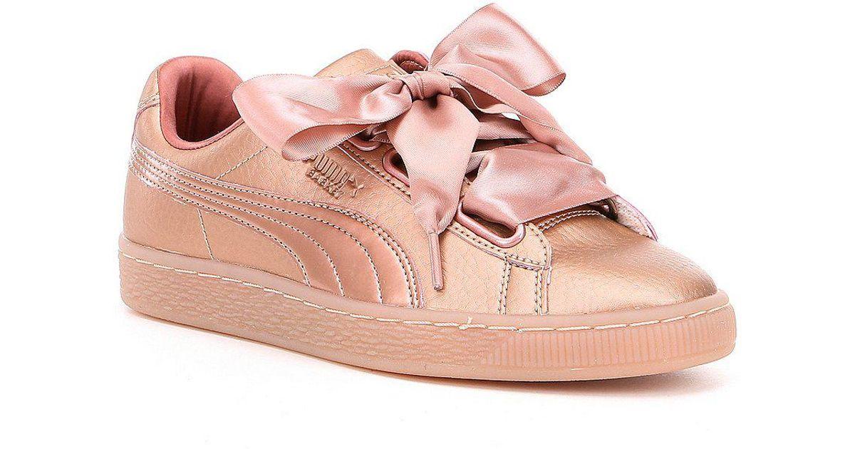 66a0b99ff8cf Lyst - PUMA Basket Heart Copper Sneakers in Pink