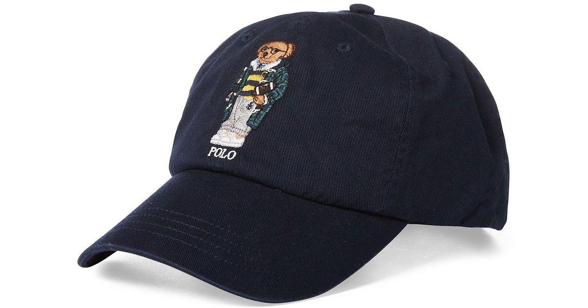 f355aa830cfb5 Polo Ralph Lauren Football Polo Bear Cap in Blue for Men - Lyst